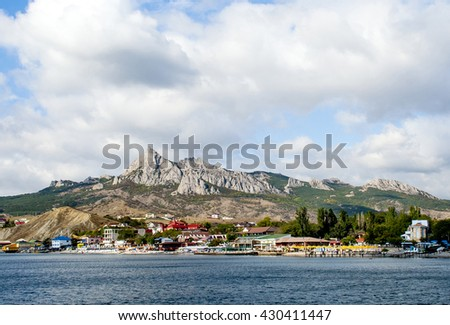Europe,  Russia. Koktebel-urban village in the east of the Crimea, located on the shores of the  Koktebel Bay in Black Sea . The famous holiday destination.