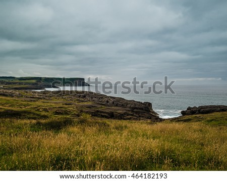 Europe, Spain, Cantabria, Santander, Cliffs and Fields near the Cantabric Sea, in a cloudy weather