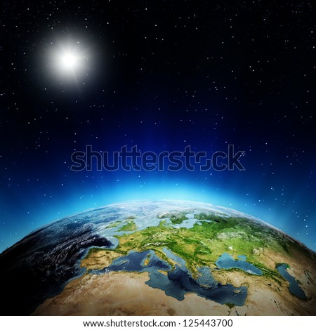 Europe sunrise. Elements of this image furnished by NASA - stock photo