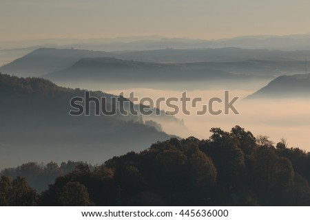 Europe, Transylvania, Romania, Maramures County, Dobricu Lapusului and Targu Lapus, territorial view. sunrise. hillside and valley.