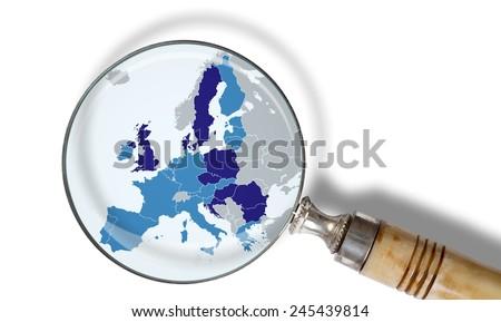 Europe under scrutiny - stock photo