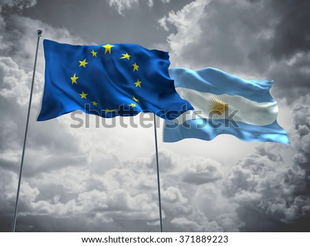 Europe Union & Argentina Flags are waving in the sky with dark clouds