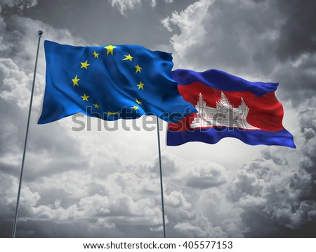 Europe Union & Cambodia Flags are waving in the sky with dark clouds