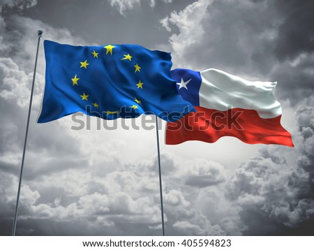 Europe Union & Chile Flags are waving in the sky with dark clouds