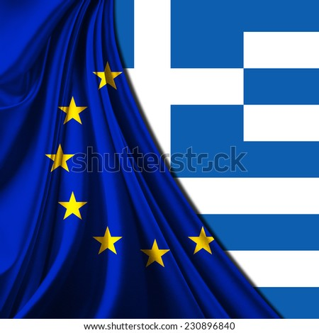 Europe union flag fabric and Greece flag background - stock photo
