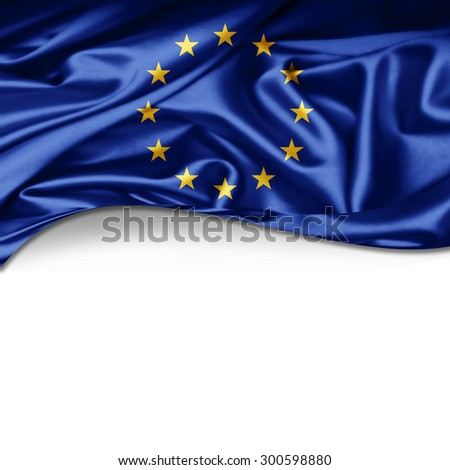 Europe union flag of silk with copyspace for your text or images and white background