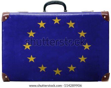 Europe Union flag painted on old grungy travel suitcase or trunk