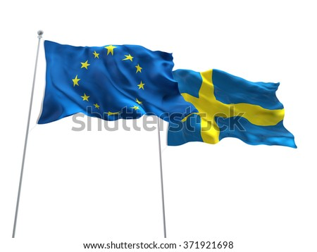 Europe Union & Sweden Flags are waving on the isolated white background
