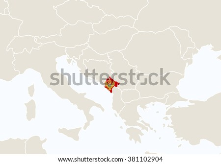 Europe with highlighted Montenegro map. Rasterized Copy.  - stock photo