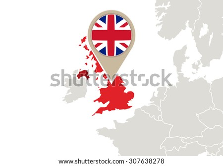 Europe with highlighted United Kingdom map and flag, Rasterized Copy - stock photo