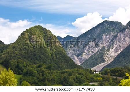 European alps, Italian Dolomites: mountains and forest - stock photo