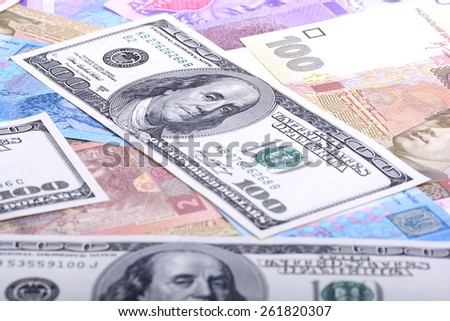 european and american money, dollars
