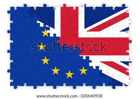 European and British Relations Concept Image - Flags of the European Union and United Kingdom Jigsaw Puzzle - stock photo