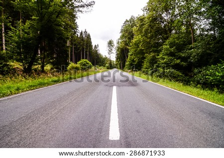 European Asphalt Forest Road in Westfalia Germany