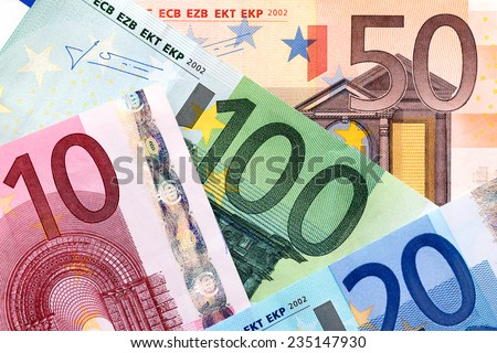 European banknotes, Euro currency from Europe, Euros. - stock photo