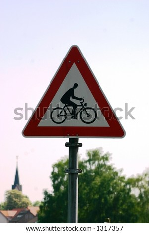 European bicycle crossing sign