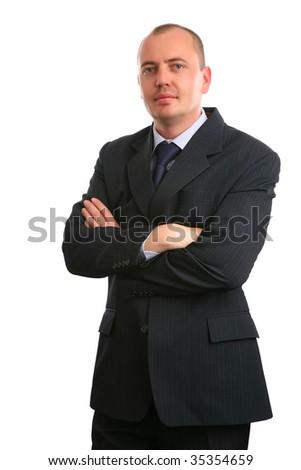 European businessman on white background. - stock photo