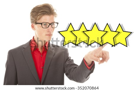 European businessman ranking with five yellow stars isolated on white background - stock photo