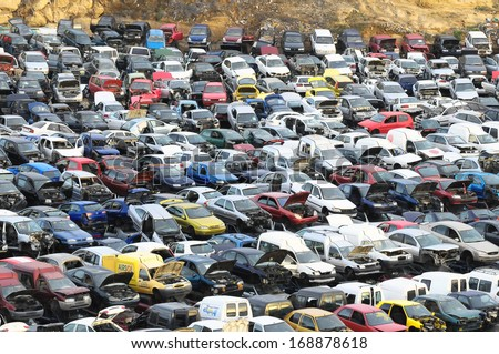 European Car Scrapping in Tenerife Canary Island Spain - stock photo