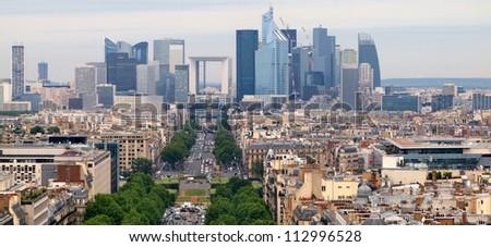European cities life. Skyscrapers of Defense in Paris city. - stock photo