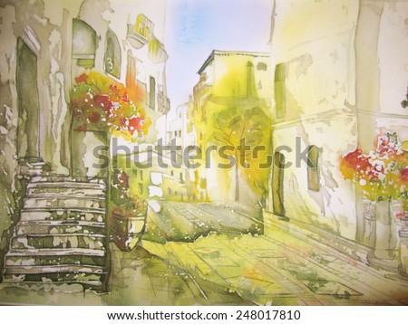 European city landscape - an original modern batik painting on silk - stock photo