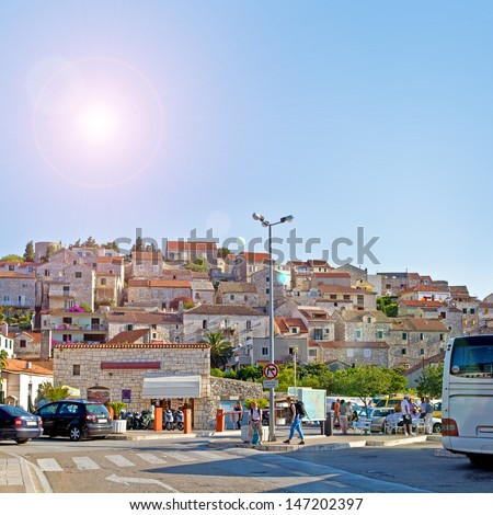 European City Scape. Hvar. Croatia. High quality stock photo.