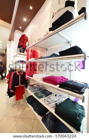 European Clothing Store Interior In Modern Mall Stock Photo