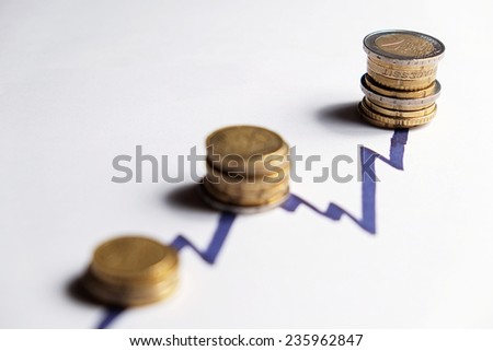 European coins along the rising peaks of a financial chart line. White background scene