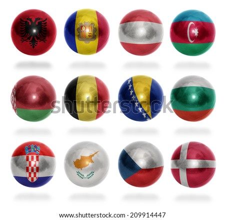 European countries (From A to D) flag balls on a white background