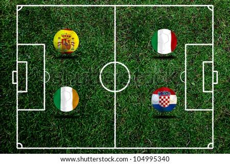 European cup Group C  Include  Ireland Italy Spain  and Croatia - stock photo