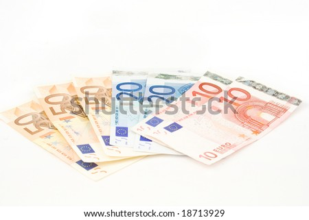 European currency banknotes on white - stock photo