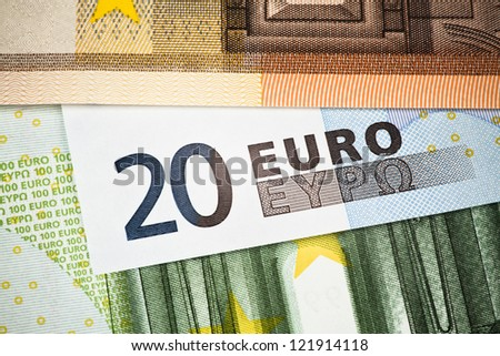European Currency. Detail of 20 EURO banknote - stock photo