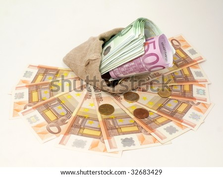 European currency in the funds bag
