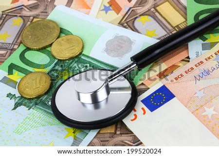 European currency sick concept. stethoscope on euro banknotes