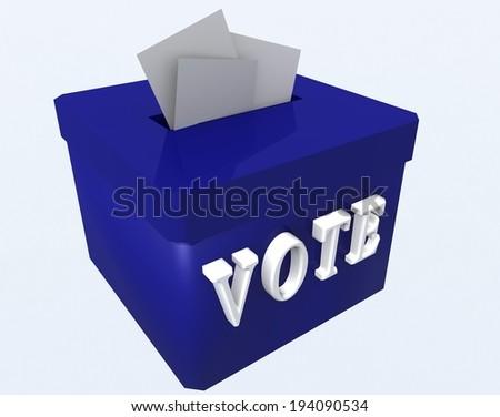 "european elections - blue ballot box - text ""vote"" - stock photo"