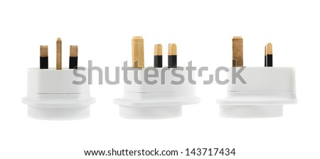 European EU to UK converter plug travel adapter isolated over white background, set of three foreshortenings - stock photo