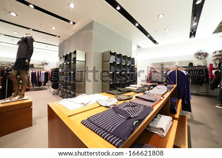 european fashionable clothing store in beautiful mall