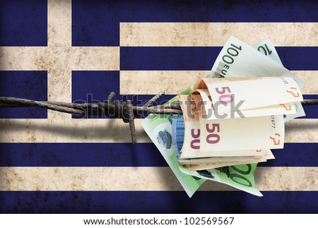 European financial crisis. Money on barbed wire.