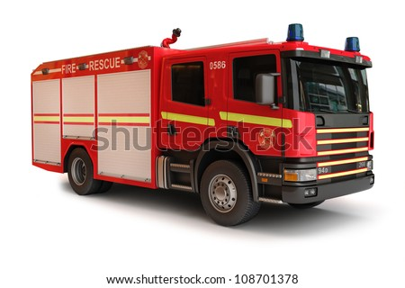 European Firetruck on a white background, part of a first responder series - stock photo