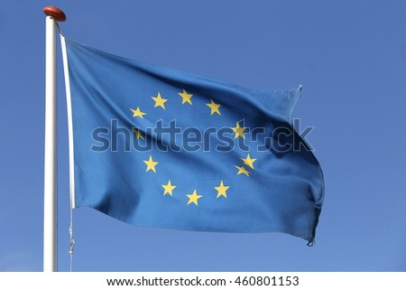 European flag blowing in the wind