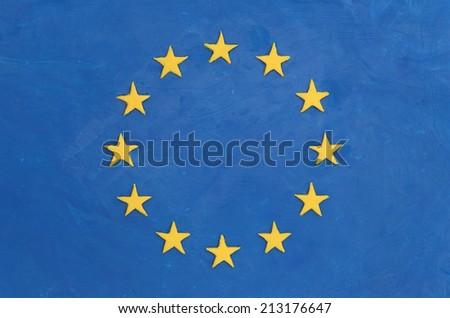 European flag made of plasticine (Child's Play Clay).