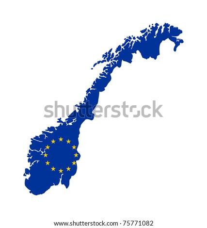 European flag on mag of Norway; isolated on white background. - stock photo