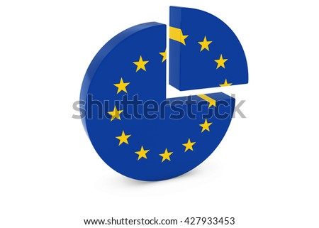 European Flag Pie Chart - Flag of the EU Quarter Graph 3D Illustration