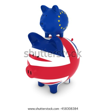 European Flag Piggy Bank Piggybacking on UK Piggy Bank Economic Concept 3D Illustration