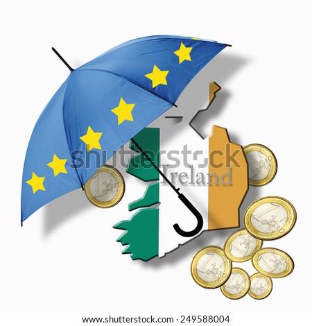 European flag umbrella on ireland flag against euro coins - stock photo