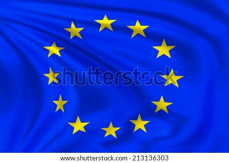 European flag waving in the wind. High quality illustration.