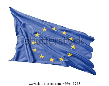 European flag waving  on white  background.