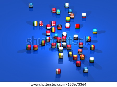 European flags. All European flags arranged on a virtual European map - stock photo