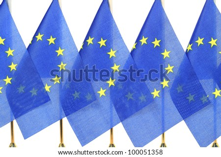 European flags hanging in the queue of flagpole,Isolated on the white background - stock photo