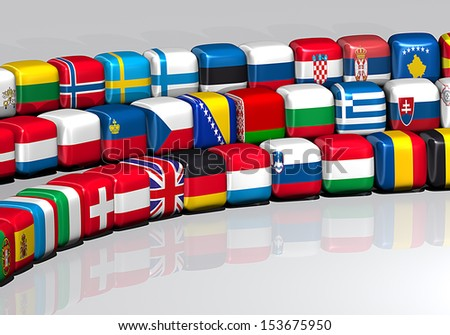 European flags on a cube shape. 3d flags on the shape of a cube - stock photo